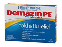 Demazin PE Cold & Flu Tablets 250px