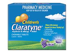 Claratyne Children's Grape Chewable Tablets 250px
